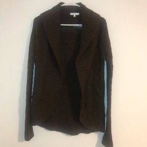 Vince. Brown Chunky Cable Knit Open Cardigan S